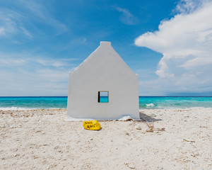 Historic white slave hut located at the Salt Pans, Bonaire