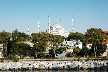 Minarets of Blue Mosque in Istanbul, Turkey