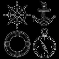 Sailing symbols - steering wheel, anchor, lifebuoy, compass. Hand drawn sketch