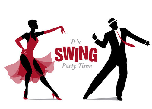 Elegant silhouette woman dressed in 1950s clothes style, dancing jazz or swing
