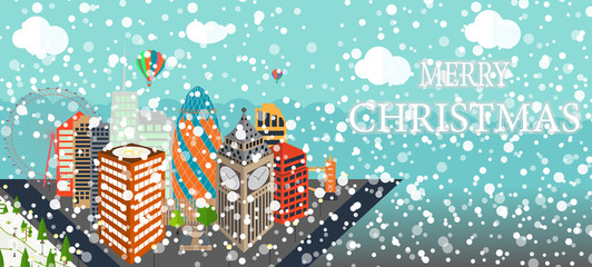 UK, Silhouette Christmas and New Year London city background. Ve