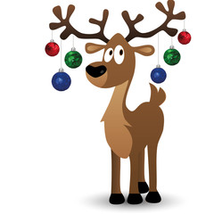 Merry Christmas card with cartoon deer, tree toys on big horns