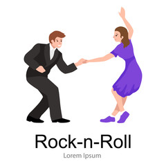 Young couple dancing lindy hop or swing in a formation, man and woman Rock and Roll dancing