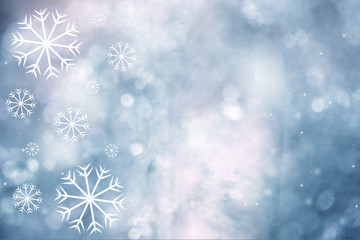 Lovely artistic Christmas and New year snowflakes on bright blue colored background with place for text. Illustration background.