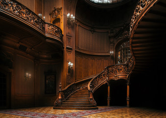 House of Scientists. Magnificent mansion with ornate grand wooden staircase in the great hall. A former national casino. Fototapete