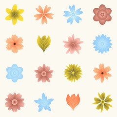 Multiple flowers and blossoms - various colors template