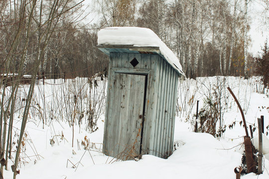 The old toilet is the area of a country house in the winter