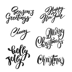 Set of Christmas and New Year design lettering. Handwritten XMAS wishes. Hand drawn signs for greeting card, invitation.