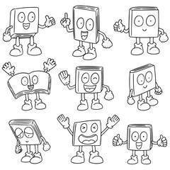 vector set of book cartoon