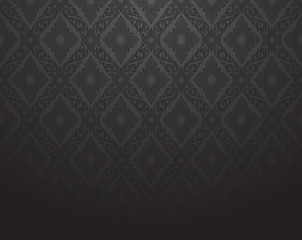 Line Thai, black color tradition seamless pattern background