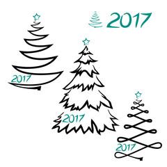vector simple silhouette Christmas tree sketch