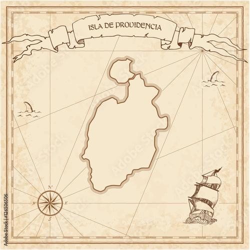 Isla de Providencia old treasure map. Sepia engraved template of ...