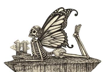 Skull art fairy. Hand pencil drawing on paper.
