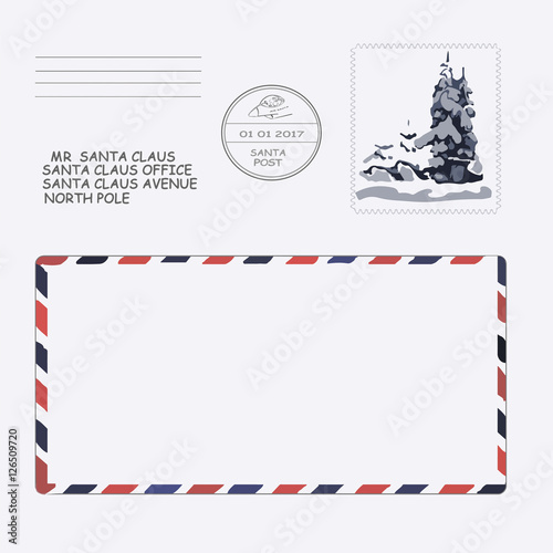 christmas, new year. letter to Santa Claus. template, envelope, stamp ...