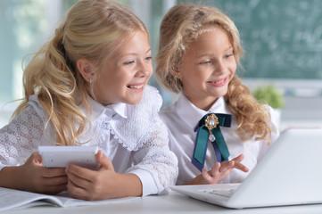 beautiful little girls at class