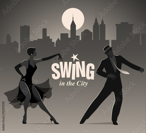 Fototapete Swing in the City: Elegant couple dressed in 1950s clothes style, dancing jazz or swing