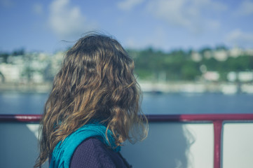 Young woman on boat