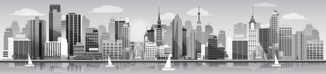 Grey city Panorama Banner