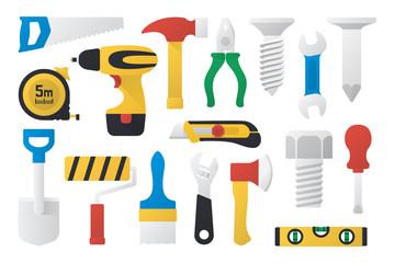Vector illustration. Set of work tools in flat design. Set of working instrument. Set of toolbox. Simple design