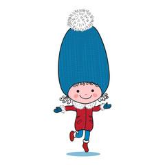 Little running girl in big winter knitted cap