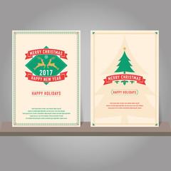 Christmas greeting card or invitation set. Vintage design.