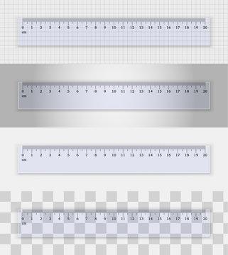 Transparent plastic ruler 20 centimeters