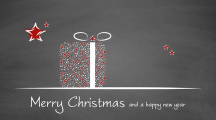 Weihnachtskarte   Geschenk auf Schiefertafel   Merry Christmas
