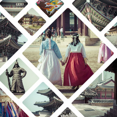 Collage of Seoul ( South Korea ) images - travel background (my