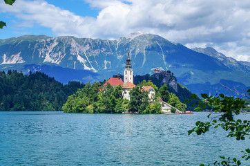Bled lake in Slovenia, view at famous church