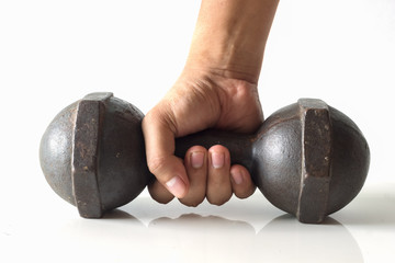 hand holding dumbbell isolated on white background.