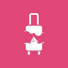 logo with suitcase, sky and sailing ship. Vector design logo. Vector illustration