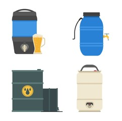 Barrel capacity tanks vector set.