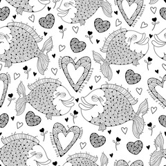 Vector seamless pattern with fish and ornate heart on the white. Design elements and holiday symbols in contour style for Valentine day and coloring book. Romantic background with cute fishes in love.