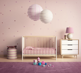 Modern nursery room with pink and violet accents