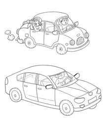 Two cars. Coloring book. Coloring page. Illustration for children. Cute cartoon characters isolated on white background