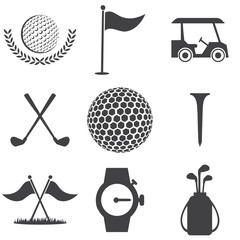 Set of golf icons in black on a white background