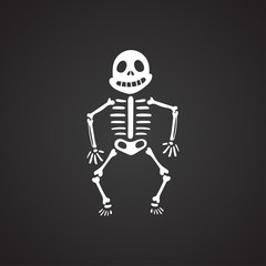 Funny skeleton on a black background. Vector illustration eps10