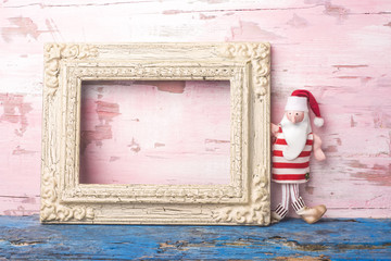 Christmas Santa empty photo frame card.Copyspace.