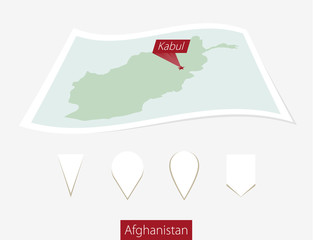 Curved paper map of Afghanistan with capital Kabul  on Gray Background. Four different Map pin set.