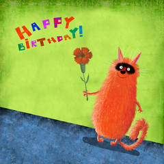 Birthday Card Red Cat With Black Muzzle Holding Flower