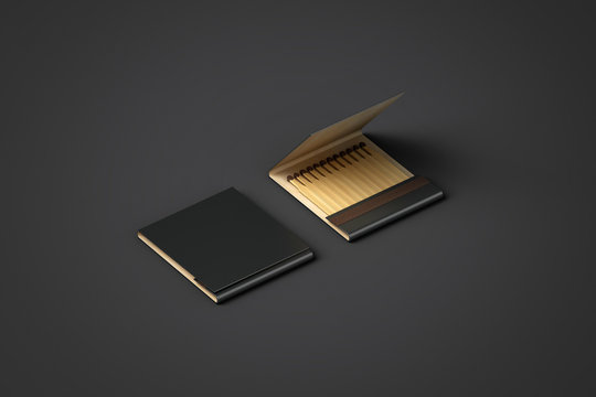 Blank black promo matches book mock up, clipping path, 3d rendering. Paper match box packaging mockup. Matchbook case top side view ready for logo design presentation. Opened matchbox presentation.