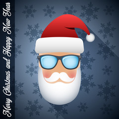 Cool Santa Claus with a beard, mustache and glasses on dark blue Christmas background with snowflakes and Greetings Merry Christmas and Happy New Year