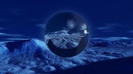 Transparent bubble with snowy winter landscape inside 3d render