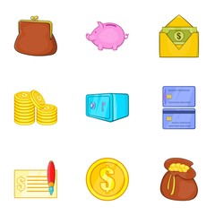 Money icons set. Cartoon illustration of 9 money vector icons for web