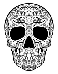 Vector skull graphics with floral ornaments isolated on white