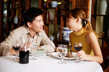 Couple dining in restaurant, sitting face to face