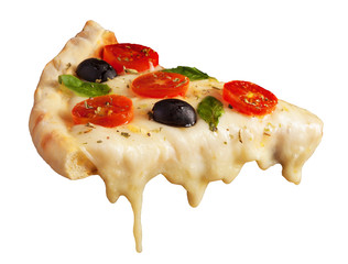 Hot pizza slice with melting cheese isolated on white
