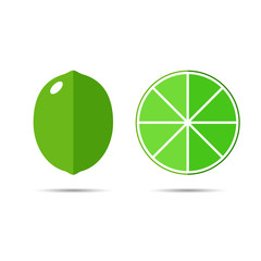 Векторная иллюстрация иконка простой символ плоский для веб лайм зеленый целый фрукт и разрез половинка lime