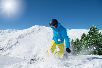 Snowboarder on a sunny day