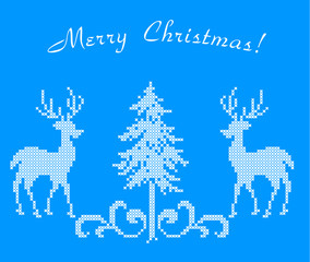 The embroidered picture for new year and Christmas
